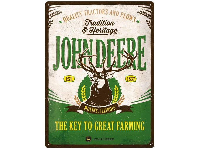 Plechová Ceduľa John Deere - Key To Great Farming