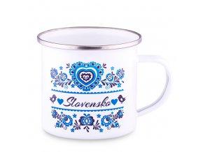 Plechový Hrnček Slovensko - modrý ornament