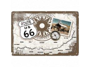 Plechová Ceduľa Route 66 Mapa