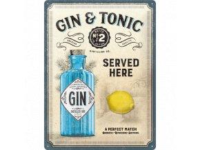 Plechová Ceduľa Gin & Tonic Served Here