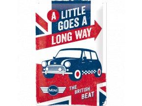 Plechová Ceduľa Mini Cooper (A Little Goes a Long Way)