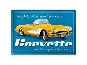Plechová Pohľadnica Chevrolet Corvette