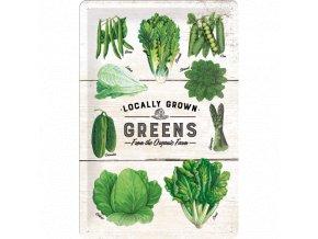 Plechová ceduľa Locally Grown Greens