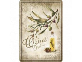 Plechová Pohľadnica Olive Italiane