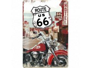 Plechová ceduľa Route 66 Lone Rider