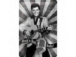Plechová ceduľa Elvis Presley Rock'n Roll Baby!