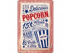 Plechová ceduľa Popcorn