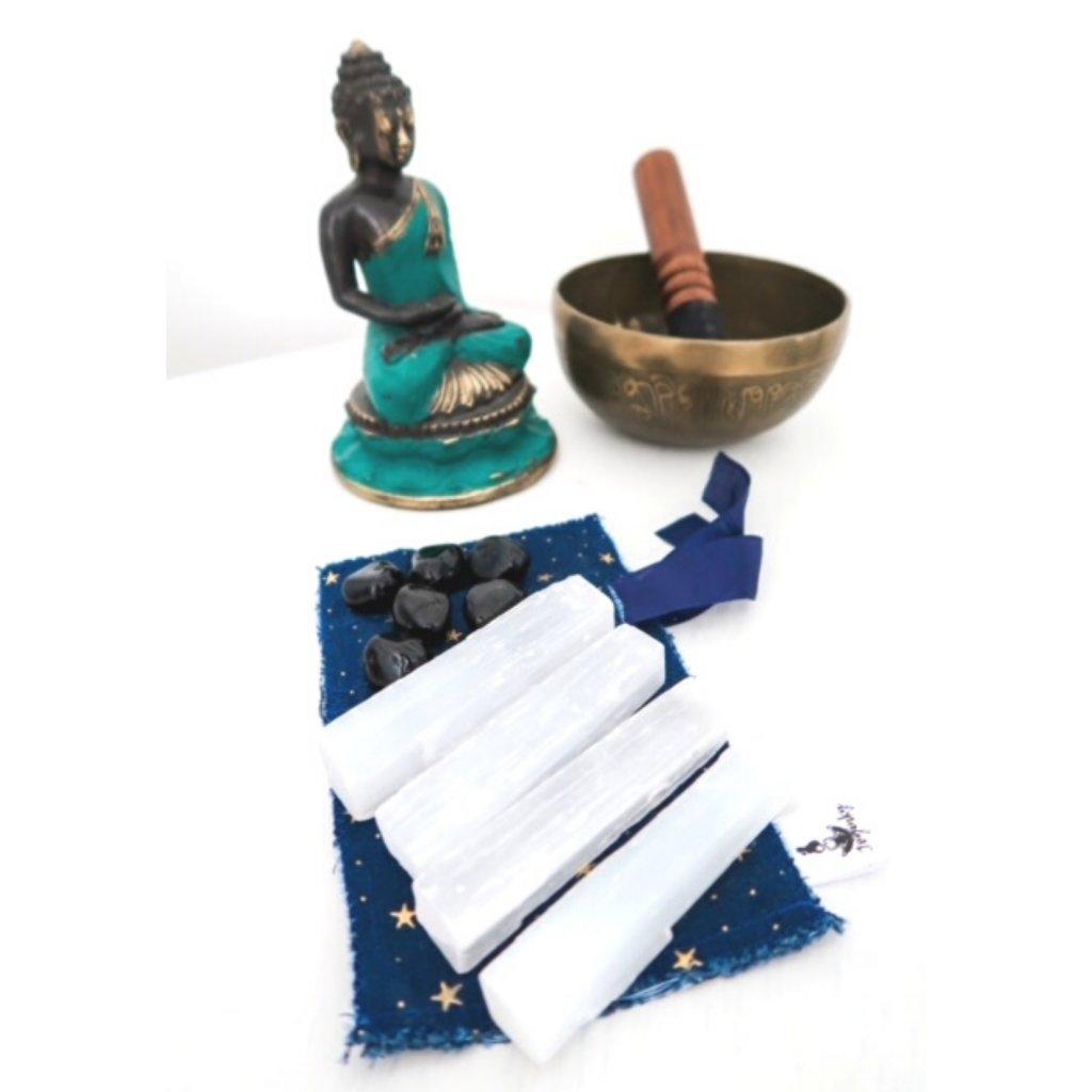 Sada krystalů pro ochranu a očistu místnosti s rituálem