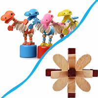 Dřevěné hlavolamy a hračky