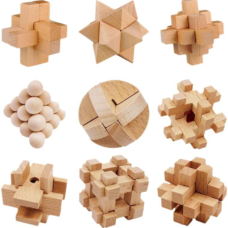 Sada 9 dřevěných hlavolamů z bukového dřeva - IQ Busters
