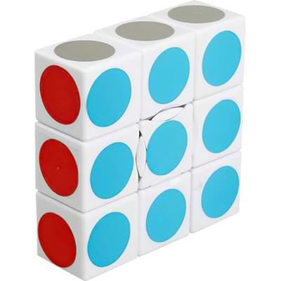 Rubikova kostka - Plochá - Bílá s puntíky - 1x3x3 - 1