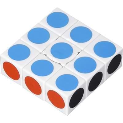 Rubikova kostka - Plochá - Bílá s puntíky - 1x3x3 - 2