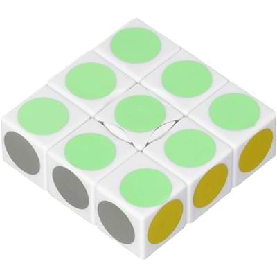 Rubikova kostka - Plochá - Bílá s puntíky - 1x3x3 - 3