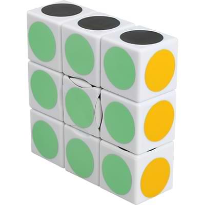 Rubikova kostka - Plochá - Bílá s puntíky - 1x3x3 - 4