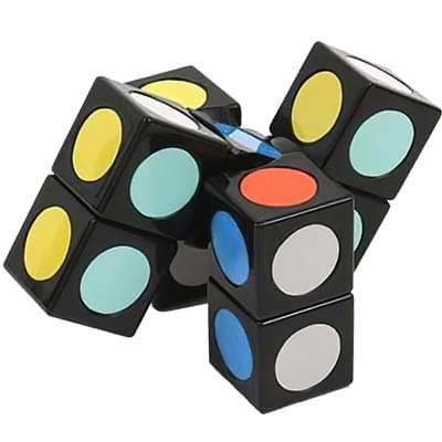 Rubikova kostka - Plochá - Černá s puntíky - 1x3x3 - 1