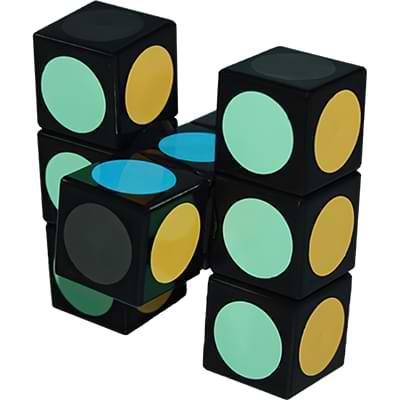 Rubikova kostka - Plochá - Černá s puntíky - 1x3x3 - 2