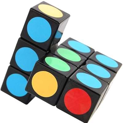 Rubikova kostka - Plochá - Černá s puntíky - 1x3x3 - 3