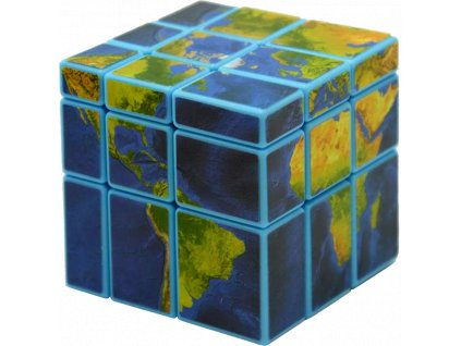 johns shop rubikova kostka mapa zeme mirror cube world map modra 1