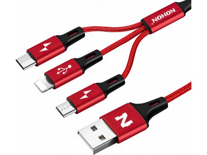 johns shop usb kabel nohon 3 v 1 micro usb usb c lightning apple ios cerveny 1