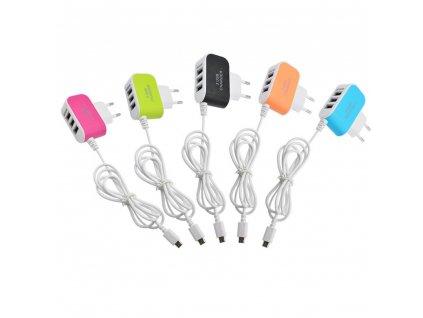 USB nabíječka - 3 porty - 5V, 3,1A - adaptér do zásuvky s USB kabelem