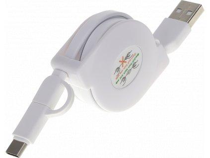 John's Shop USB kabel Samonavíjecí bílý (4)