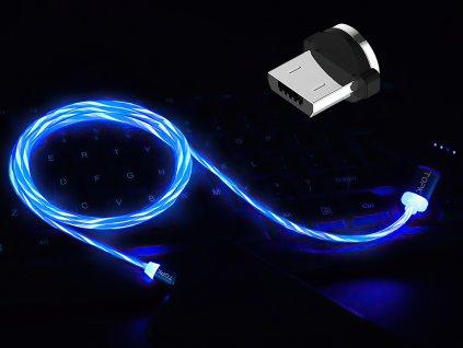 johns shop m5 magneticke kabely svitici modry 1 micro usb