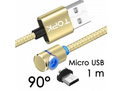 johns shop magneticky kabel m5 90 zlaty 1m micro usb