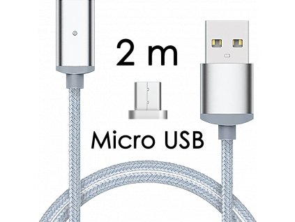 johns shop magneticky kabel m2 stribrny 2m micro usb