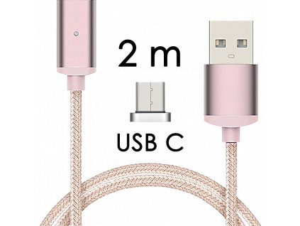 johns shop magneticky kabel m2 ruzovy 2m usb c