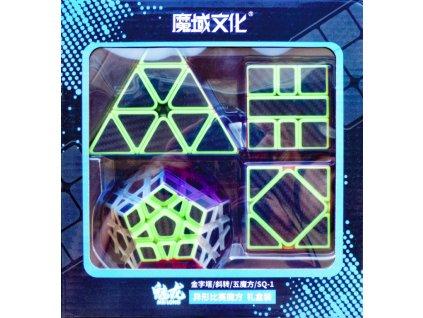 johns shop sada 4 rubikovych kostek dvanactisten meganimx skewb pyramida 3x3x3 pyraminx sq1 spicaty stred carbonova 1