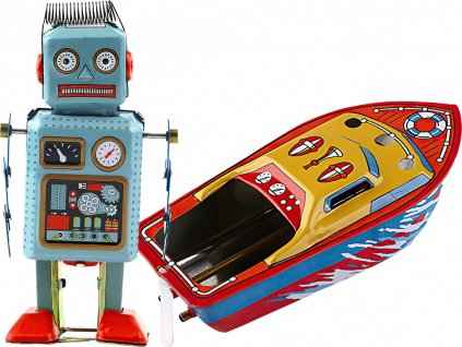 johns shop cz retro hracky sada 2 ks lodka robot 1 kopie