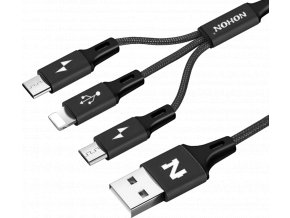 johns shop usb kabel nohon 3 v 1 micro usb usb c lightning apple ios cerny 1