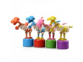 6 pcs Kids Intelligence Toy Dancing Stand Colorful Rocking Dinosaur Wooden Toy (1)