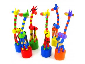 2017 New Cute Gift For Kids Intelligence Toy Dancing Stand Colorful Rocking Giraffe Wooden Toy Houten