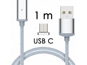 johns shop magneticky kabel m2 stribrny 1m usb c