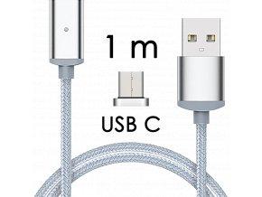 johns shop magneticky kabel m2 stribrny 1m usb c