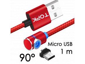 John's Shop Magnetický USB kabel TopK červený zahnutý 1