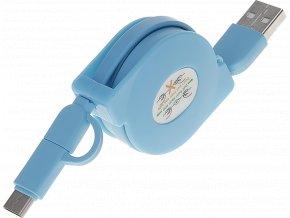 John's Shop USB kabel Samonavíjecí modrý (4)
