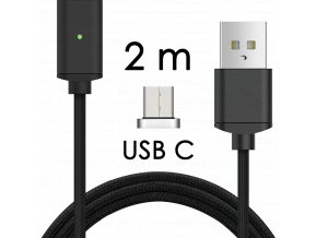 johns shop magneticky kabel m2 cerny 2m usb c