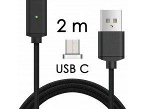 johns shop magneticky kabel m2 cerny 2m usb c