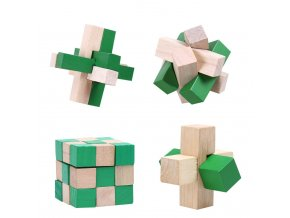 4 pcs ensemble 3D En Bois Puzzles Jouets Kongming Verrouillage IQ Casse t te Puzzle Jeu