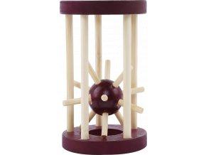 Dřevěný hlavolam - ježek v kleci