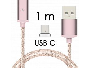 johns shop magneticky kabel m2 ruzovy 1m usb c