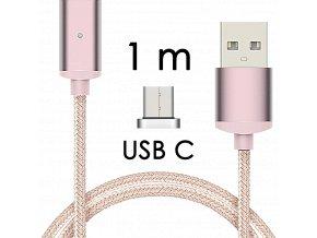 johns shop magneticky kabel m2 ruzovy 1m usb c