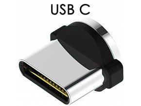 John's Shop Magnetický USB kabel TopK černý zahnutý USB C 1