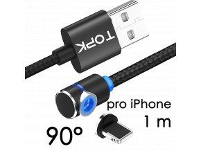 John's Shop Magnetický USB kabel TopK černý zahnutý iOS 1