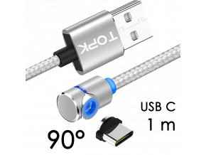 John's Shop Magnetický USB kabel TopK stříbrný zahnutý USB C 1