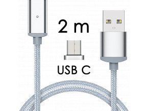 johns shop magneticky kabel m2 stribrny 2m usb c