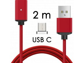 johns shop magneticky kabel m2 cerveny 2m usb c
