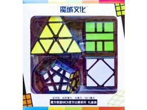 johns shop sada 4 rubikovych kostek dvanactisten meganimx skewb pyramida 3x3x3 pyraminx sq1 spicaty stred cerny podklad 1